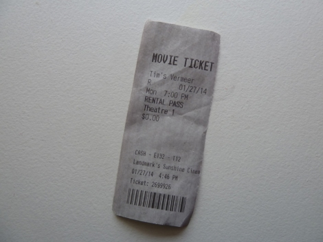 "Ticket stub for the fabulous documentary, ""Tim's Vermeer.'"