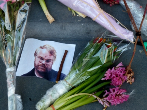 Tribute to actor/director Philip Seymour Hoffman, 33 Bethune Street, Greenwich Village.