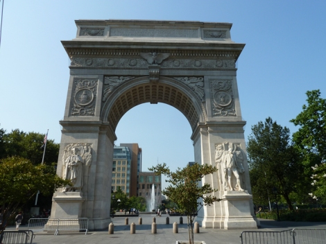 The Washington Square Arch at the base of Fifth Avenue.