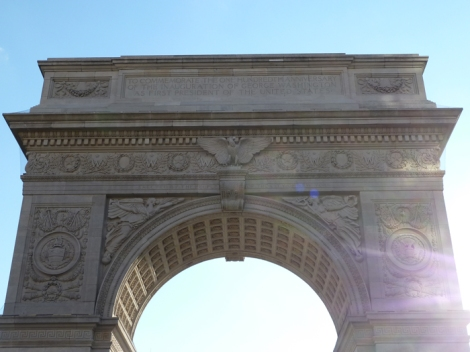 The top portion of the Washington Square Arch.