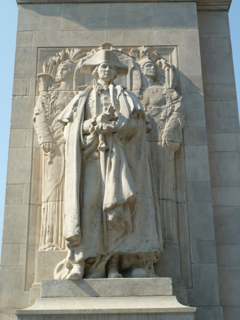 """Washington at War"" stands on the north-facing side of the Washington Square Arch."