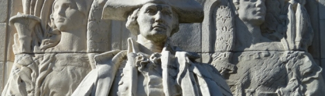 """Washington at War,"" on the Fifth Avenue-facing side of the Washington Square Arch in Washington Square Park"