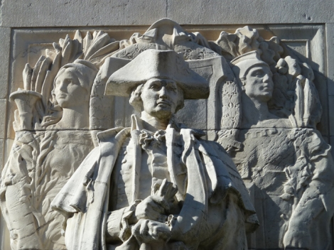 """Washington at War,"" detail, stands on the north-facing side of the Washington Square Arch."