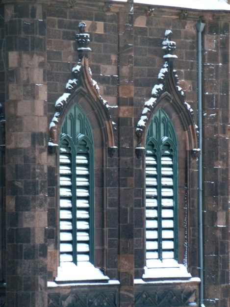 The snow covered louvers of the First Presbyterian Church; the church can be seen on the Greenwich Village Walking Tour.