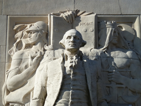 """Washington at Peace,"" detail, stands on the north-facing side of the Washington Square Arch."