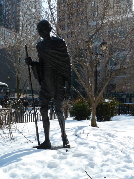 The Mahatma Gandhi Monument in Union Square Park can be seen on the Five Squares and a Circle Tour.