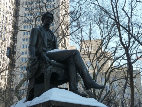 The William H. Seward Monument in Madison Square Park, can be seen on the Five Squares and a Circle Tour.