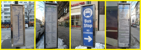 The information kiosk at a New York City but stop, showing route and timetable.