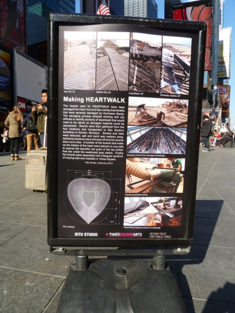 Heart Walk, 2013, Caption, Father Duffy Square, New York City.