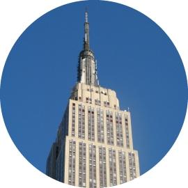 Empire State Building, blue sky, New York