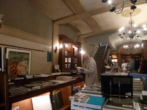 Customers, browse, books, sale for 40% off on Rizzoli's, second floor