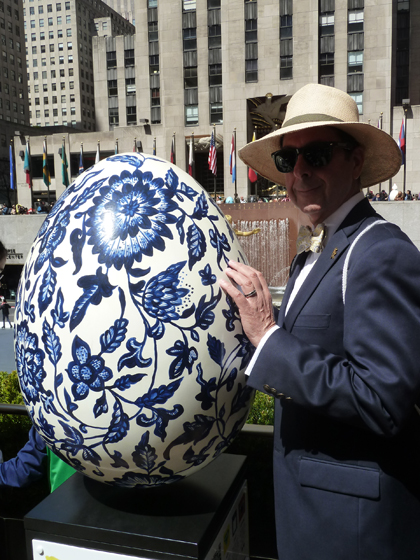 Easter Parade, Easter bonnet, Faberge, Big Egg Hunt, blue, white, Delft tiles