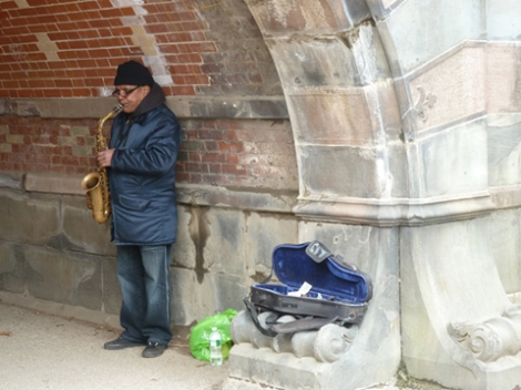 Greywacke Arch, Central Park, saxophone, Metropolitan Museum of Art