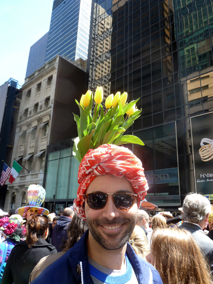 Easter Parade, Easter bonnet, New York, Fifth Avenue, tulips, turban, sunglasses, beard