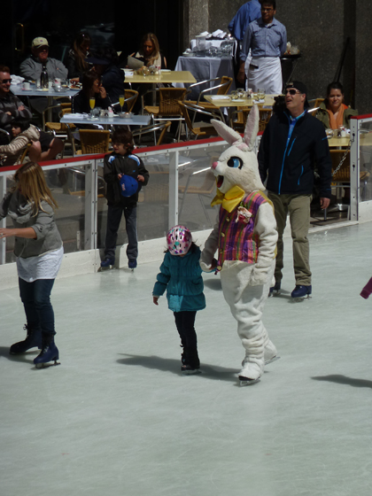 Easter bunny, Rockefeller Center, ice skating