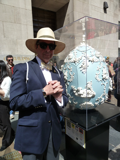 Easter Parade, Easter bonnet, Faberge, Big Egg Hunt, blue, white, Wedgwood