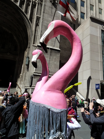 Easter Parade, Easter bonnet, New York, Fifth Avenue, Flamingos, pink, fringe
