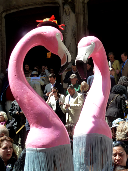 Easter Parade, Easter bonnet, New York, Fifth Avenue, Flamingos, pink, St. Thomas Church