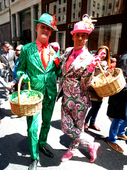 Easter Parade, Easter bonnet, New York, Fifth Avenue, Easter baskets, pattern suit, gay men