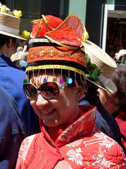 Easter Parade, Easter bonnet, New York, Fifth Avenue, red, Chinese, jacket, oriental, Asian