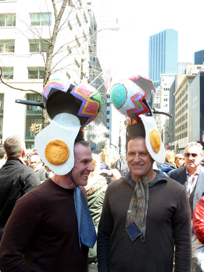 Easter Parade, Easter bonnet, New York, Fifth Avenue, Easter eggs, fried eggs, frying pan,gay men
