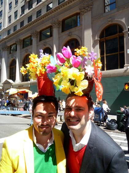 Easter Parade, Easter bonnet, New York, Fifth Avenue, Easter pails, flowers gay men