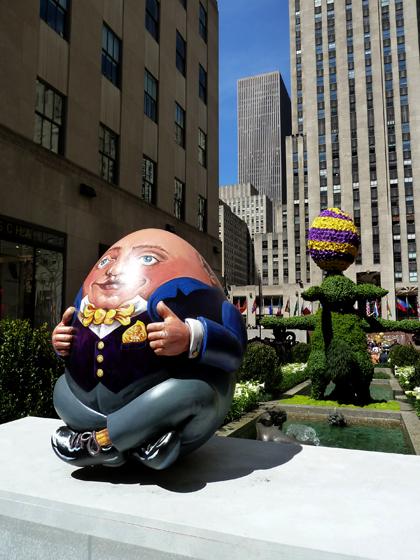Faberge, Big Egg Hunt, Rockefeller Plaza, Channel Gardens, Humpty Dumpty, Prince of Wales, Duchess of Cornwall
