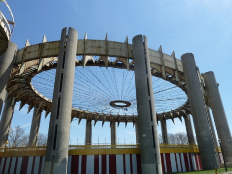 Flushing Meadows Corona Park, World's Fair, 1964, 1939, New York State Pavilion, Philip Johnson, mosaic