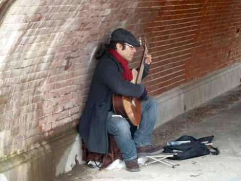 Guitar, Central park, arch, bricks