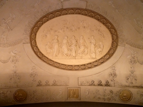stucco, medallions, ceiling, Rizzoli's, second floor
