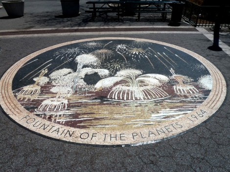Flushing Meadows Corona Park, World's Fair, 1964, 1939, Fountain of the Planets, mosaic