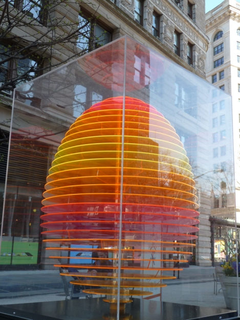 Fabergé egg hunt, orange, Plexiglas, Flatiron building, April, Easter egg