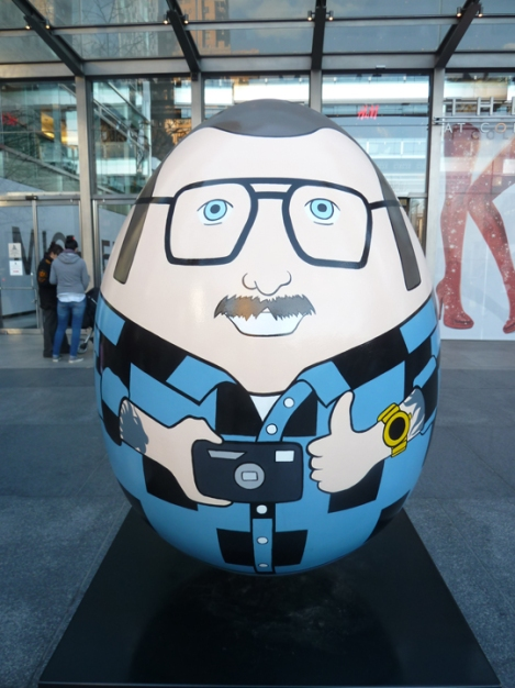Fabergé egg hunt, camera, self-portrait, eye glasses, April, Easter egg, Time Warner, Columbus Circle