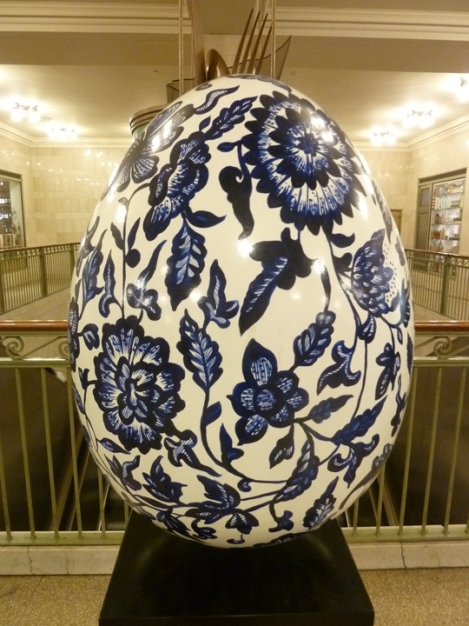 Fabergé egg hunt, white, blue, Delft tile, Grand Central Terminal, April, Easter egg
