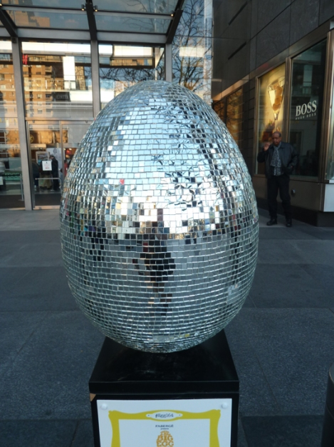 Fabergé egg hunt, disco, mirrors, April, Easter egg, Time Warner, Columbus Circle