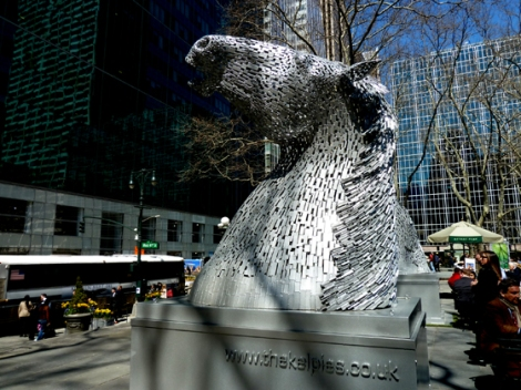 Bryant Park, The Kelpies, Tartan Week, Scottish, Falkirk, Helix Parkland, Fountain Terrace, Horses, Horse Heads, Steel, Models, Maquettes