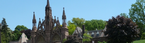 Trolley, Tour, Green-Wood Cemetery, Brooklyn, Historic Chapel, Taphophile, Cemetery, Warren and Wetmore, Samuel Morse, Minerva, Elias Howe, Boss Tweed, Steinway & Sons