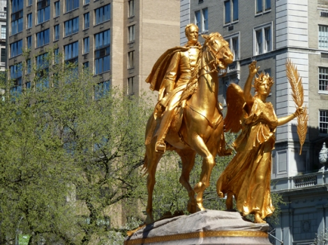General Sherman Monument, Grand Army Plaza, Gold Leaf, Augustus St. Gaudins