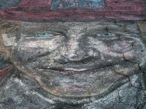 "Washington Square Park, Robin Williams, Chalk, Portrait, Ephemeral, Waiting for Godot, Steve Martin, Greenwich Village, Hat, Smile, Lincoln Center, 1988 ""In America they really do mythologize people when they die."" —Robin Williams (1952–2014) Let the mythologizing begin! I found this portrait in chalk of Robin Williams on the pavement near the Washington Arch in Washington Square Park. The ephemeral nature of the medium, plus heavily-trafficked location, ensures that this loving tribute will not be with us for long. It serves as a metaphor of Mr. Williams' life and for our own. Without a doubt this is a recognizable likeness of Mr. Williams. Is the likeness a film character of his? I must admit that the only film starring him that I have seen is The Birdcage. What with the hat, he resembles Estragon, the character he portrayed in Lincoln Center's 1988 production of Waiting for Godot. Steve Martin played the other main character, Vladimir. ""You're only given a little spark of madness. You mustn't lose it."" —Robin Williams ""Reality is just a crutch for people who can't cope with drugs."" —Robin Williams ""Comedy is acting out optimism."" —Robin Williams ""Spring is nature's way of saying, 'Let's party!' "" —Robin Williams"