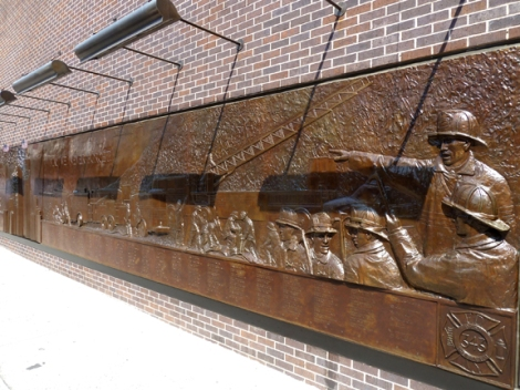 9-11, FDNY 9|11 Memorial Wall, Ground Zero, Bas-Relief, Bronze, Holland & Knight, Twin Towers, the Ten House, World Trade Center, Fire Department of New York