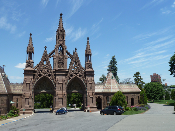 Green-Wood Cemetery, Brooklyn, Gay Graves, Gothic Gates, Richard Upjohn, Leonard Bernstein, Louis Moreau Gottschalk, Violet Oakley, Emma Stebbins, Fred Ebb, Hiking Tour, LGBT, National Historic Landmark, Gay, Graves, Paul Jabara