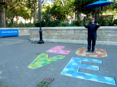 Chalk, Union Square, Five Squares and a Circle Tour, Union Square Park, New York City, Mark Panzarino, Mark Panz, Artist for Hire, Sidewalk, Pavement, Walking Tour