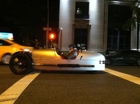 Racecar, Fifth Avenue, 12th Street, New York, Greenwich Village, Yellow Taxi, Morgan 3 Wheeler, Silver