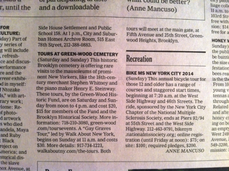 Gay Graves Tour, Emma Stebbins, Violet Oakley, Green-Wood Cemetery, Brooklyn, Tiffany & Co., Marcus Daly, Time Out New York, the New York Times, Weekend Arts, Spare Times
