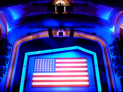 The Stars and Stripes greets audience members.