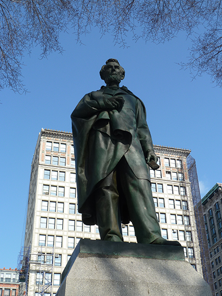 Abraham Lincoln, Union Square Park, George Washington, Independence Staff, Henry Kirke Brown, Lincoln Building, the Great Emancipator, Fiorello H. La Guardia, Bronze, Sculpture
