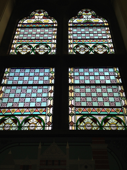 Jefferson Market Library, Library, Greenwich Village, Jefferson Market Courthouse, Courthouse, Stained Glass Window, Stained Glass, Victorian Gothic, handmaiden of architecture, New York Public Library, New York,