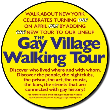 Walk About New York, Birthday, April 1, First Anniversary, Gay Village Walking Tour,