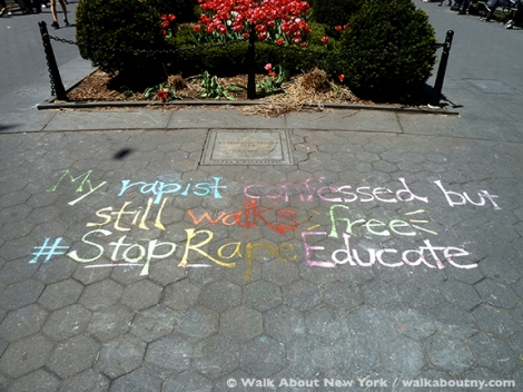 #stoprapeeducate, Washington Square, New York University, Chalk, Rape, Message, Park, Student., NYU