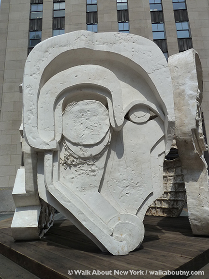 Masks, Pentagon, Rockefeller Center, Rockefeller Plaza, Plaster, Thomas Houseago, Rockefeller Plaza, Christmas Tree,